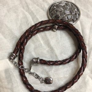Ralph Lauren silver and brown leather necklace